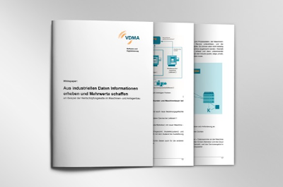Picture showing the cover and some pages of the VDMA whitepaper about the digitalization platform SERICY